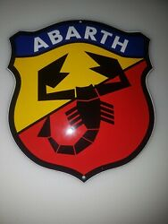 Abarth Shield Sign Size = 6x5 Inch Porcelain Enamel Door/wall Emaille Schild