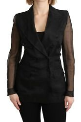 Dolce And Gabbana Jacket 100 Silk Black Double Breasted Blazer It38/us4 /xs 2800