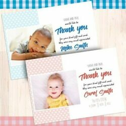 Personalised Photo New Baby Boy Girl Birth Announcement Cards Polka Dot Envs