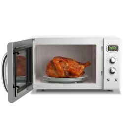 0.9cu.ft. Retro Countertop Concise Microwave Oven 900w 8 Cooking Settings White