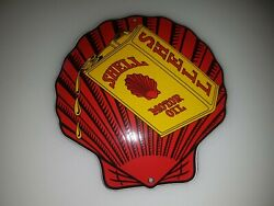 Red Shell Motor Oil Porcelain Enamel Sign Emaille Size 5 Weight 3 Oz Schild