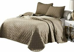 Oversize Queen Stitched Taupe Color Quilted Flower Design Bedspread Coverlet 106