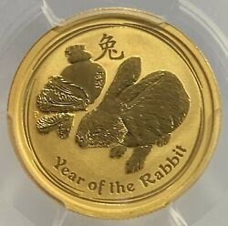2011-p Australia Gold 25.00 1/4 Ozt Year Of The Rabbit Pcgs Ms 70