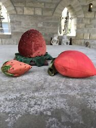 Vintage Strawberry Pincushion Collection 3 Pieces Xl Size Great Patina