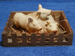 Alfretto Porcelain Pigs In A Wood Straw Pig Sty