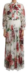 Dolce And Gabbana Dress Silk White Floral Roses Maxi It48 / Us14 / Xxl Rrp 5400