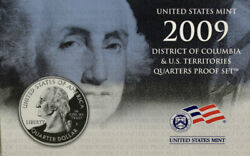 2009 S Us Mint Dc And Us Territory Quarters Proof Set 6 Coins Mint Box And Coa