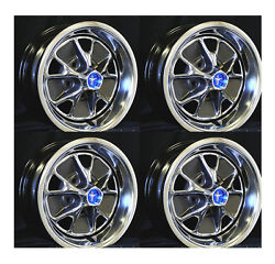 New 1967 Mustang Style Steel Gt Wheels 14 X 5.5 Set Of Complete W/ Caps, Nuts