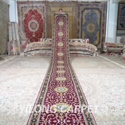 Yilong 2.5and039x26and039 Gallery Hand Knotted Silk Rug Runner Corridor Carpet Strip 678c