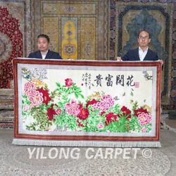 Yilong 4'x6.8' Peony Flowers Tapestry Silk Area Rugs Carpets Hand Knotted 689a