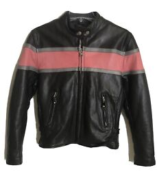 Rare Womenand039s Pink Strip Moto Bomber Jacket Full Grain Leather Zip Out Lining S
