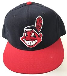 Vintage Mlb Cleveland Indians Chief Authentic Diamond Collection New Era Hat