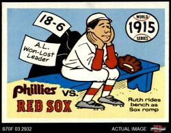 1970 Fleer World Series 12 Babe Ruth - 1915 Red Sox V Red Sox / Phillies 7 - Nm