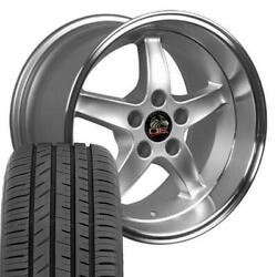 17x9 And 17x10.5 Silver Wheel And Toyo Tire Set Fits Ford Mustang Cobra R Style