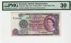 1964 Bermuda 10 Pounds P22 Pmg 30 Very Fine Previously Mounted