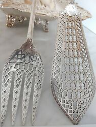Stunning Antique Victorian Martin Hall Heavy Silver Plate Servers Exquisite
