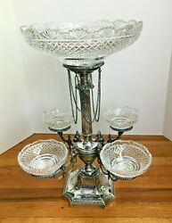 Ornate Antique English Silverplate Cut Glass Epergne Horace Woodward-20 In.