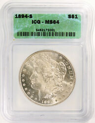 1894-s Morgan Silver Dollar - Icg Graded Ms-64 - Gorgeous Coin - Key Date