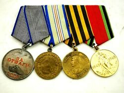 Russian Wwii Combat Valor Group Of 4 Medal Ribbon Bar Genuine