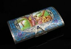 Antique Silver And Enamel Compact Case