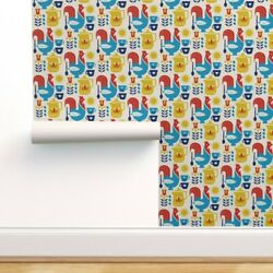 Removable Water-activated Wallpaper Morning Coffee Breakfast Rooster Mug Sun