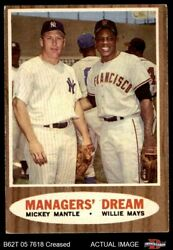1962 Topps 18 Mickey Mantle / Willie Mays - Managersand039 Giants / Yankees 2 - Good