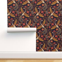 Removable Water-activated Wallpaper Phoenix Mythical Fantasy Victorian