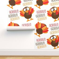 Wallpaper Roll Gobble Turkeys Fall Autumn Kids Holiday Funny 24in X 27ft
