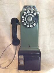 Antique Rotary Pay Phone Original Green Bell System Western Electric
