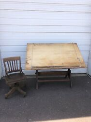 Vintage J.h. Weil Co Wood And Cast Iron Drafting Table Old Industrial Decor
