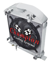 1928-1929 Ford Model A Radiator And Fan For Chevy Motor V8 Conversion 3 Row
