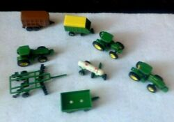 Lot Of 8john Deere Die Cast Tractors And Implements Farm Ertl Green Toys 1/64th
