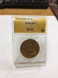 Anacs 1910-d 20 Ef 45 St Gaudens Motto Double Eagle Us Gold