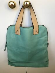 New Cynthia Rowley Leather Turquoise Fold Over Bag Double Handle Crossbody $49.00
