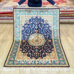 Yilong 4'x6' Blue Silk Area Rugs Handmade Antique Carpets Hand-knotted 216a