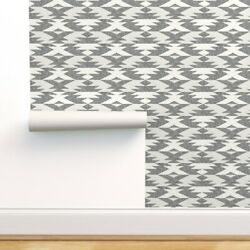 Wallpaper Roll Aztec Geometric White Native Natural Geo Triangle 24in X 27ft