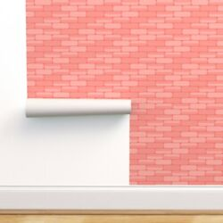 Wallpaper Roll Limited Palette Living Coral Pink Rectangles Bricks 24in X 27ft