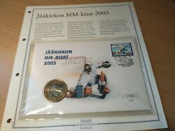 Ihf World Championship Finland Coin 5andeuro Euro 2003 And Stamp In Envelope Unc Limited