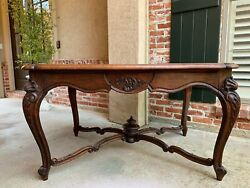 Antique French Carved Oak Parquet Dining Table Kitchen Library Louis Xv Style