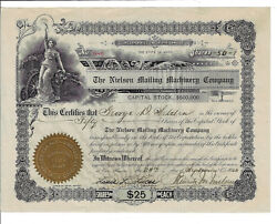 Pennsylvania 1908 The Nielsen Mailing Machinery Company Stock Certificate Erie