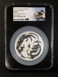 2019 Australia Dragon And Phoenix 10oz Silver 10 Ngc Ms70 One Of First 98 Struck