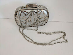 SILVER MIRROR METALLIC Evening Bag or Clutch Purse Chain Removable ARTSY $14.40