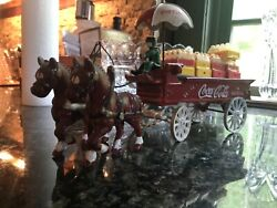 Cast Iron Vintage Horse Drawn Coca Cola Delivery Wagon. With Crates And Bottles.