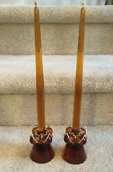 Vintage Honey Amber Lucite Grape Candle Holders And Candles Mid Century Free Ship