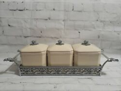Biltmore For Your Home Set Of 3 Cream Canisters W/ Silver Tray Farmhouse Kitchen