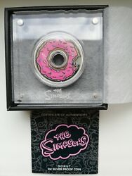 The Simpsons Donut 1oz. Silver Proof Coin Tuvalu Rare