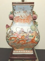 Vintage Chinese Hand Painted Porcelain Lamp With Fox Hunt Scene