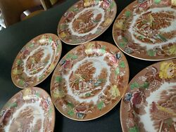 6 Antique Enoch Woods Woodand039s Ware English Scenery Multicolor Dinner Plates Color