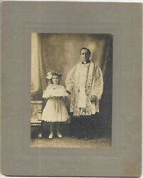 C.1910 First Holy Communion Portrait Girl And Priest Port Richmond Staten Is.