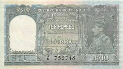 Burma 10 Rupees Nd. 1938 P 5a Series A/6 Circulated Banknote Amr